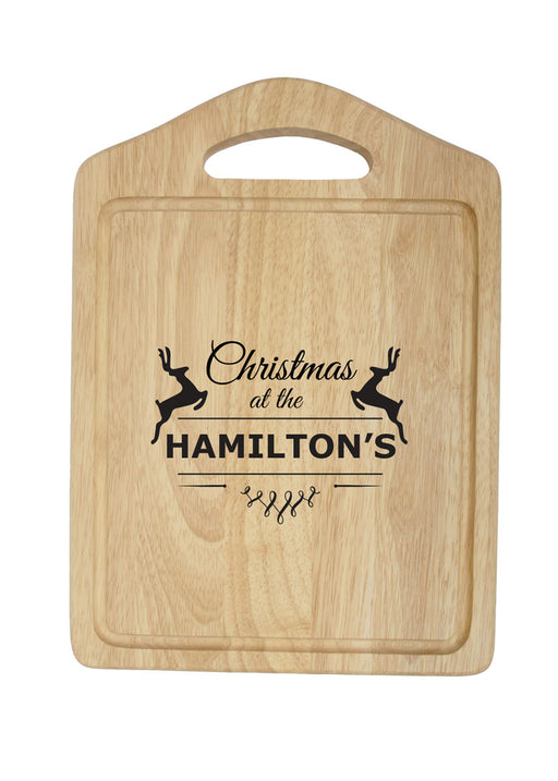 Personalised Christmas Reindeer Chopping Board With Handle