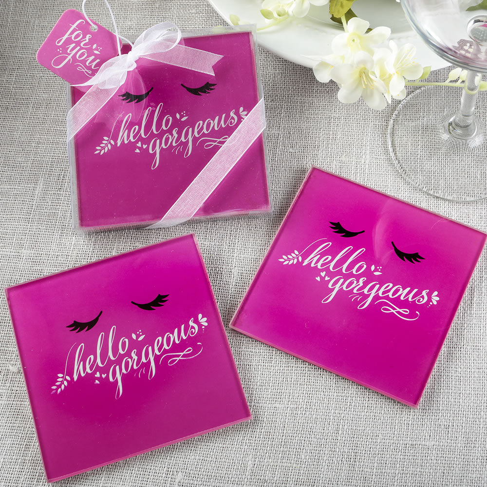 Hello Gorgeous glass Coasters set of 2