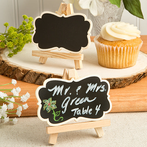 Natural Wood Easel And Blackboard Place Card Holder