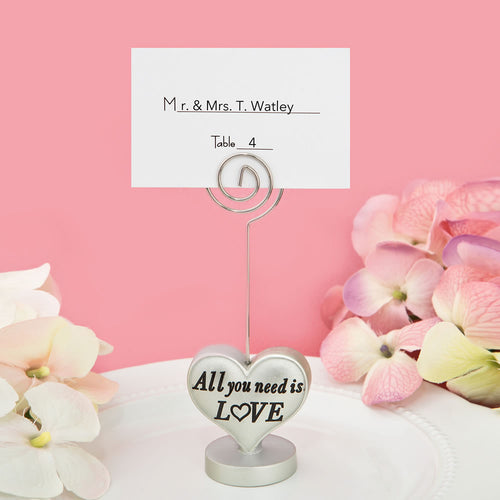 All You Need is Love' Heart Design Place Card Holder Photo Holder