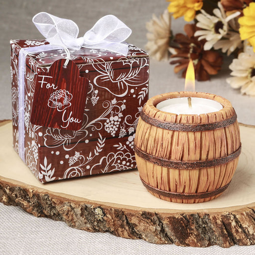 Wine barrel themed tea light candle holder from Solefavours