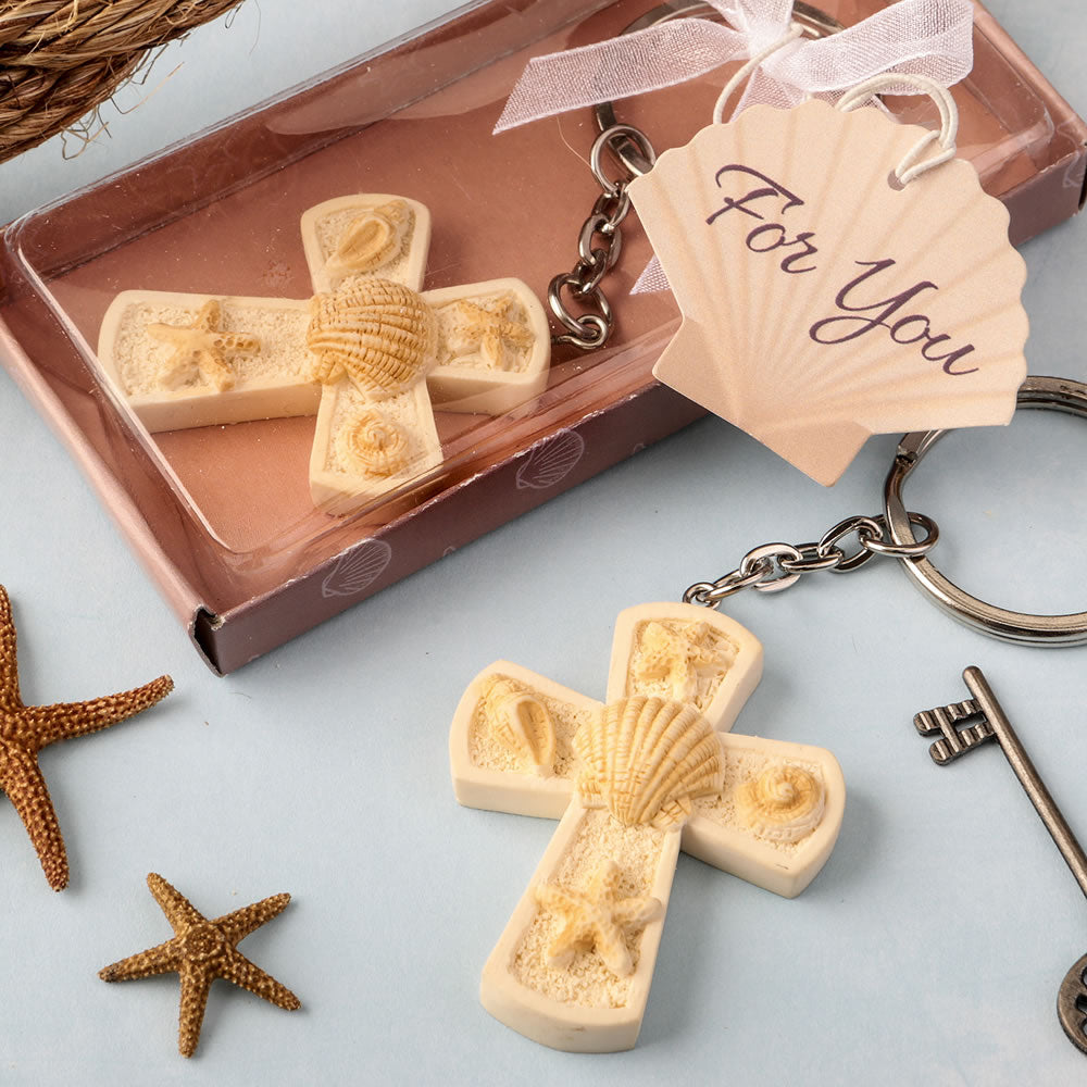 Beach themed cross key chain