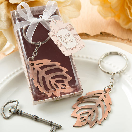 Copper Colour Metal Fall Leaf Design Key Chain Autumn Fall