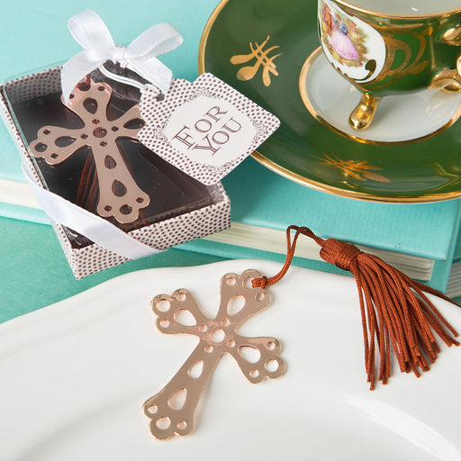 Rose Gold Metal Cross Book Mark