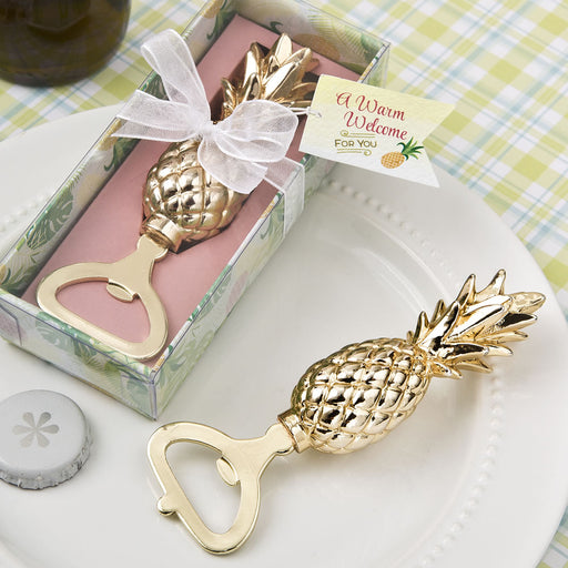 50 Gold Pineapple Themed Warm Welcome Compact Wedding Bridal Shower Party Favors