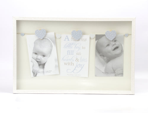 Blue Hearts Baby Boy Triple Peg Hanging Frame