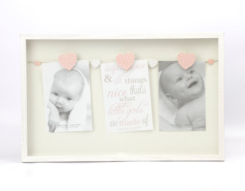Pink Hearts Baby Boy Triple Peg Hanging Frame
