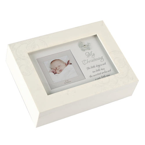 White Musical Trinket Box Frame Lid - My Christening