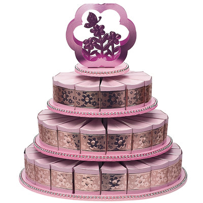 3 Tiers Cake Stand With 48 Cake Slice Boxes Pink
