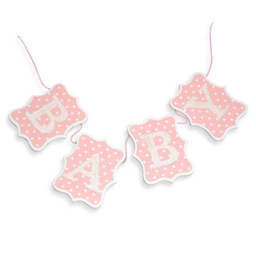 Wooden Baby Bunting Pink & White Dot Design 60cm