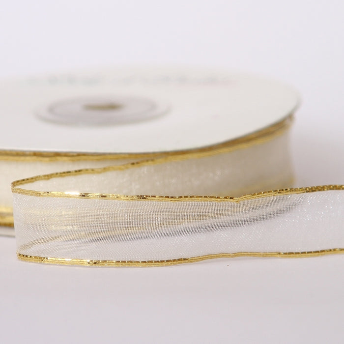 Ivory And Gold Organza Ribbon 15mmx25M