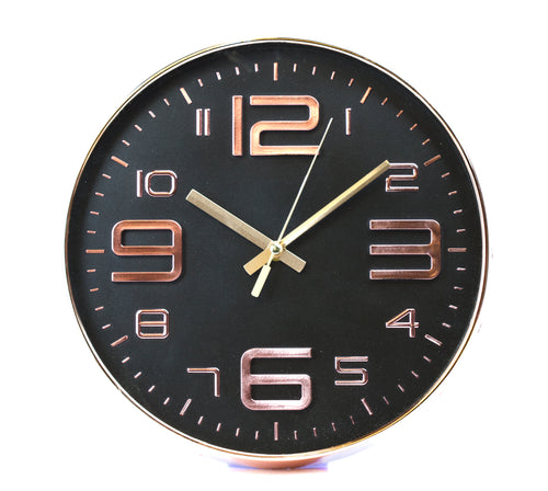 Black Embossed Rouan Copper Clock