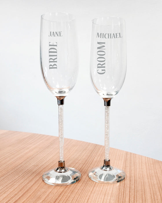 Personalised Diamond Stem Champagne Flutes