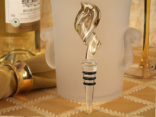 Murano Art Deco Swirl Design Bottle Stopper Gold And White