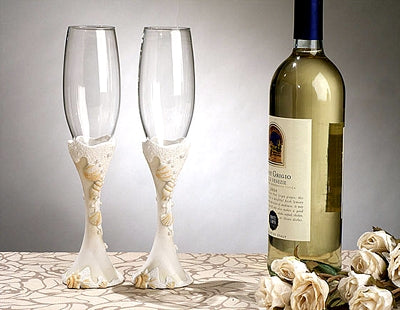 Beach Shell Theme Ivory  Wedding Toasting Glasses