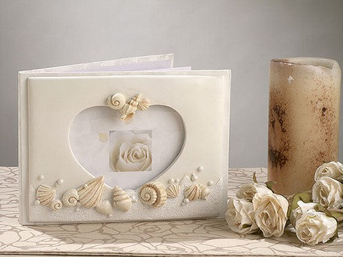 Beach Shell Theme Ivory Wedding Guest Book