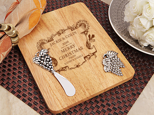Personalised Stylish Christmas Design Wood Cheese Cutting Board With Knife