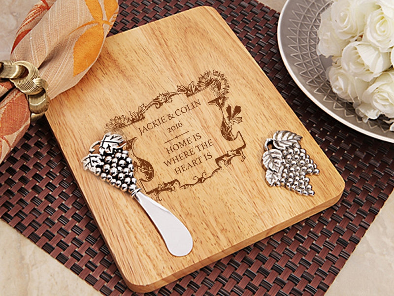 Personalised Stylish Home Design Wood Cheese Cutting Board With Knife