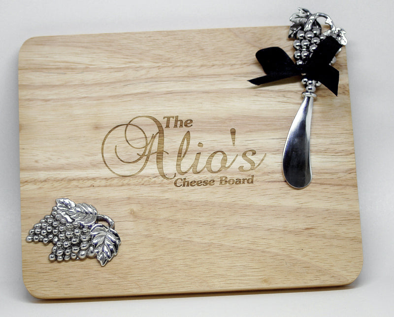 Personalised Stylish Wood Cheese Cutting Board With Grapes Design