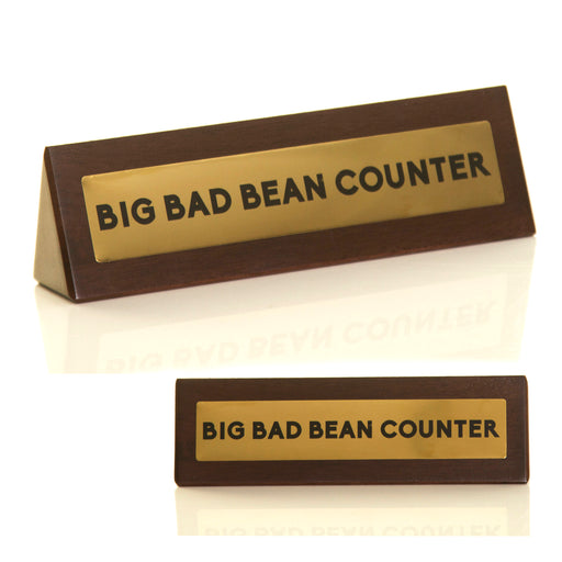 Wooden Desk Sign - Bean Counter