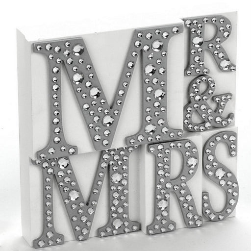 Mr. And Mrs. Plaque With Jewels White