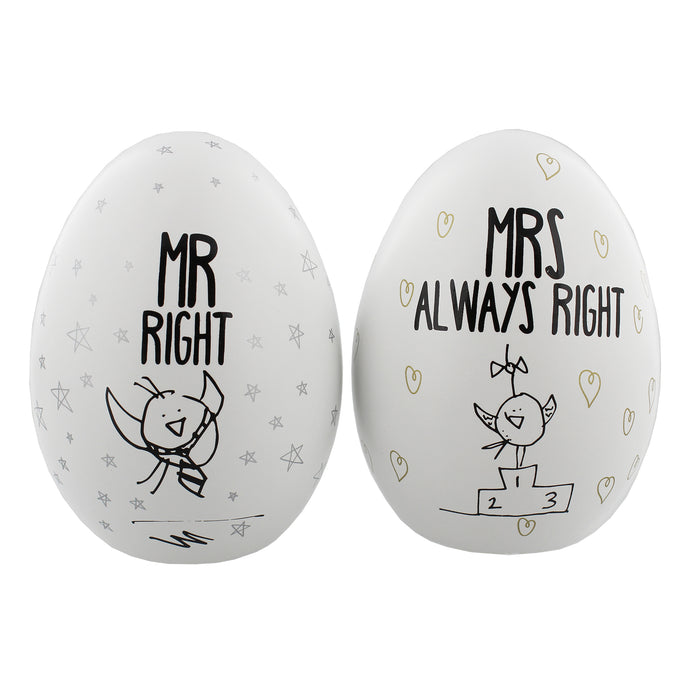 Eggcellent Pair Nest Eggs Mr. Right And Mrs. Always Right