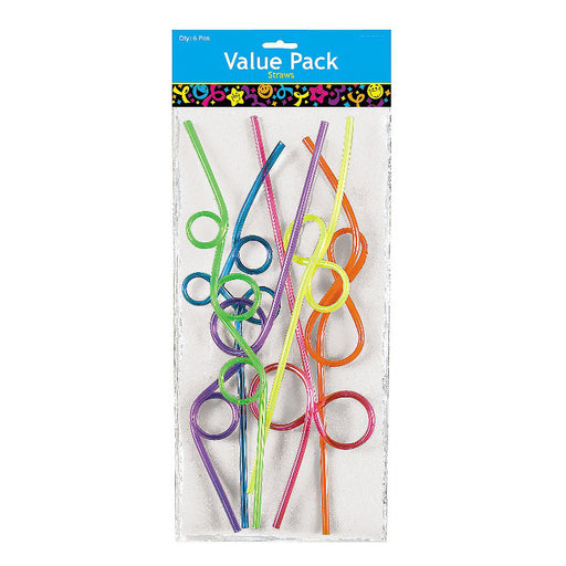 Pack of 6 Neon Loop Straws in Assortment of Colours