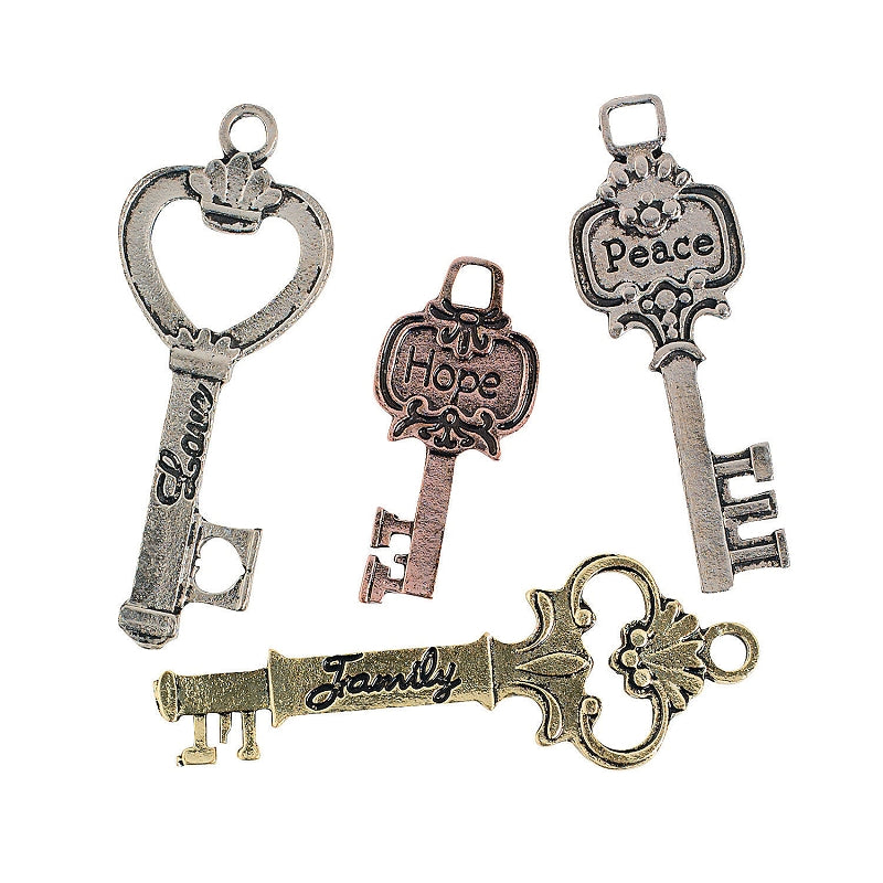 Pack of 12 Assorted Metal Key Charms