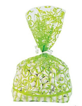12 x Lime Green Swirl Cellophane Bags