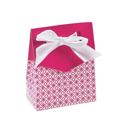 12 x Hot Pink Tent favor Boxes With Ribbon