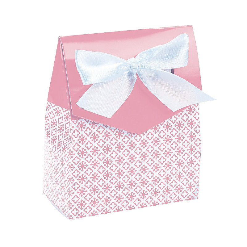12 x Light Pink Tent Favor Boxes With Ribbon