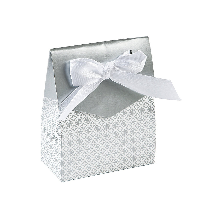 12 x Silver Tent Favor Boxes With Ribbon