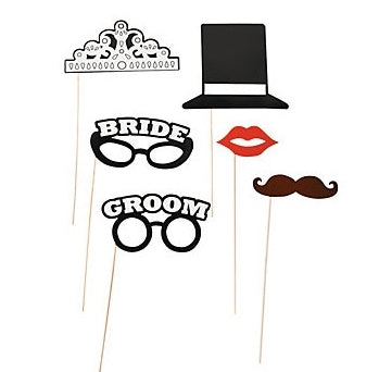 Bride And Groom Stick Photo Props
