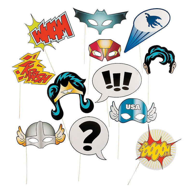 Pack of 12 Super Hero Stick Costume Props