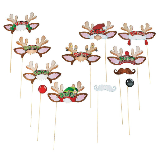 12 x Paper Santa Reindeer Photo Stick Props