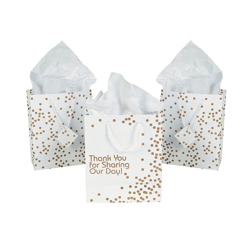12 x Paper Medium Gold Wedding Dot Gift Bags