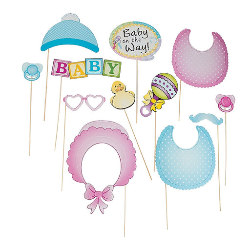 12 x Paper Baby Shower Photo Stick Props