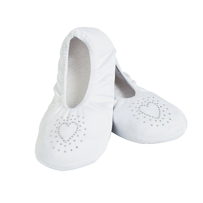 White Wedding Slippers with Heart Design