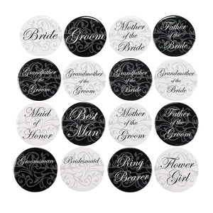 24 Assorted Wedding Party Badges