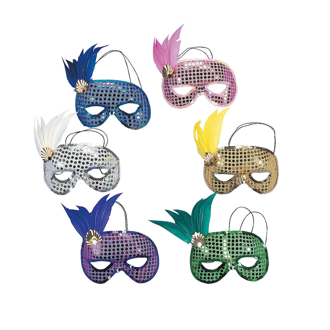 12 x Plastic Mardi Gras Sequin And Feather Masks