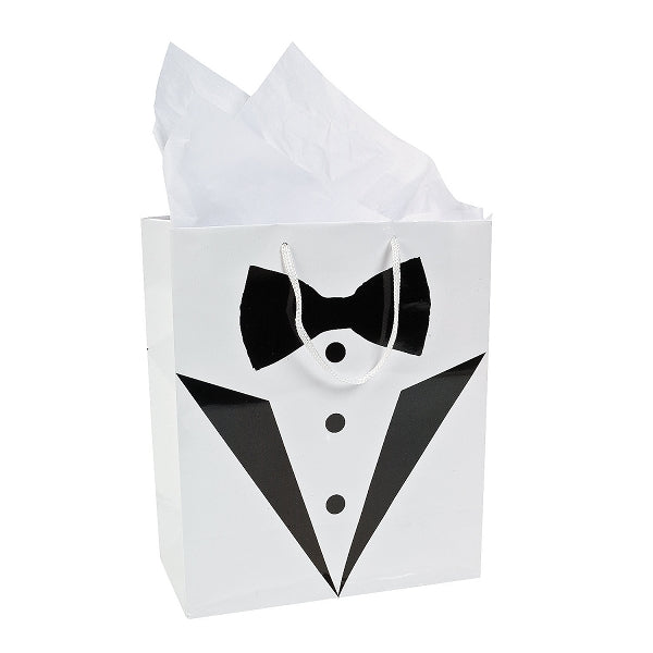 12 x Medium Wedding Tux Gift Bags