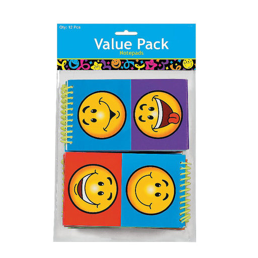 Pack of 12 Smiley Face Spiral Notepads