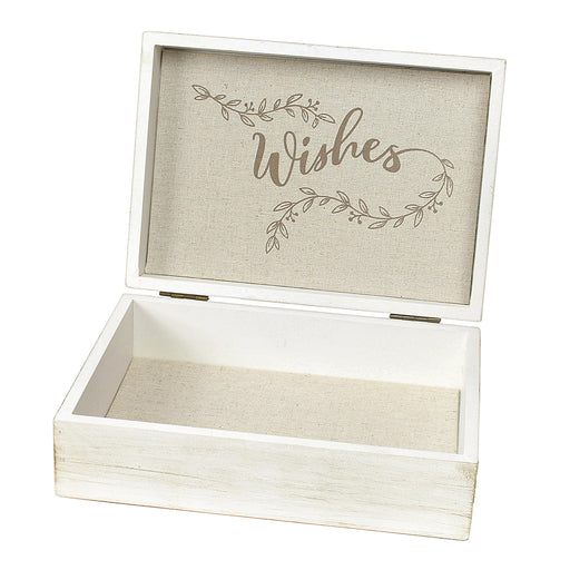 Lillian Rose White Wooden Wishes Box