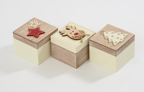 Mini Wooden Christmas Boxes 3 Assorted