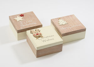 Wooden Christmas Boxes 3 Assorted