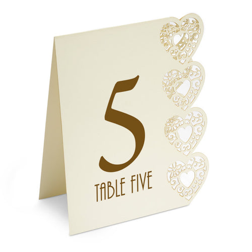 Heart Design Table Numbers 115 Ivory