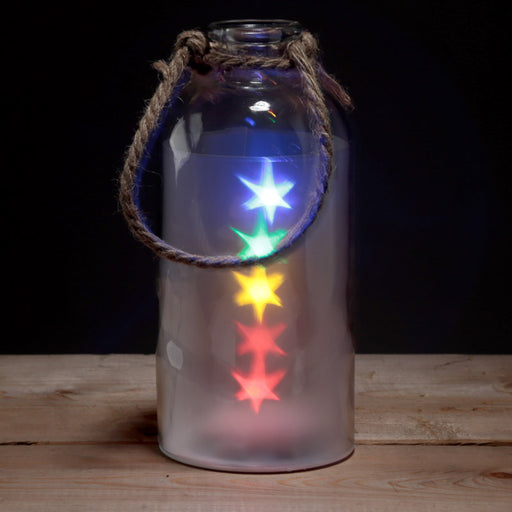 Decorative Glass Jar with Multicoloured LED Stars Light