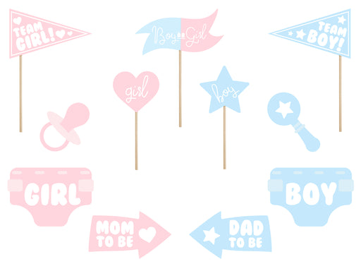 Photo props Gender reveal party, mix (1 pkt / 11 pc.)
