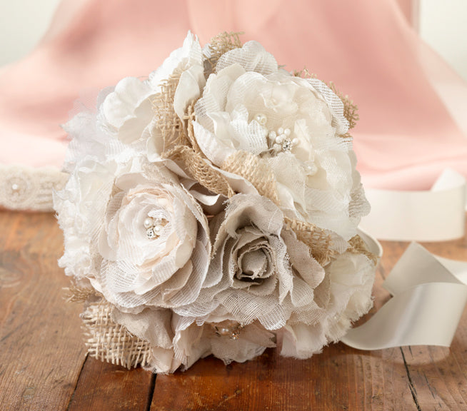 Burlap And Flower Bouquet