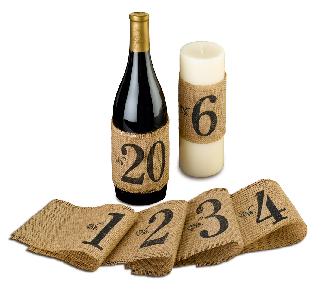 Burlap Table Number Wraps Numbers 120